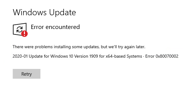 Why Windows Could Not Search For New Updates? 0x80070002 Error
